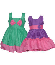 Laocchi Chanderi Cotton Partywear Frocks Combo-Set of 2 (Violet and Pink, Green)