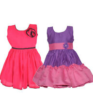 Laocchi Chanderi Cotton Partywear Frocks - Set of 2 (Violet and Pink, Majenta)