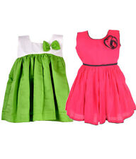 Laocchi Chanderi Cotton Partywear Frocks Combo (Green with Cream Hakoba,Majenta)