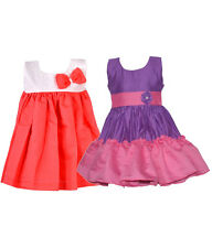 Laocchi Chanderi Cotton Partywear Frocks Set of 2(Violet &Pink,Peach With Cream)
