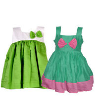 Laocchi Chanderi Cotton Partywear Frocks-Set of 2(Green,Green with Cream Hakoba)
