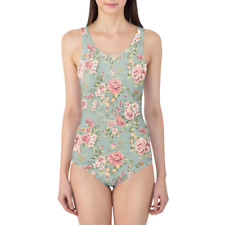 Pastel Floral Wallpaper Women's Swimsuit XS-5XL One Piece with Removable Padding