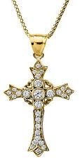 14k Yellow Gold Diamond Cross Pendant Necklace with Hearts