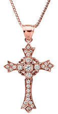 14k Rose Gold Diamond Cross Pendant Necklace with Hearts