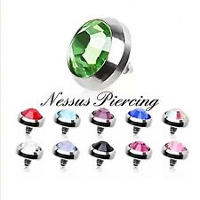 6mm dermal anchor head piercing titanium skin diver CZ flat skin