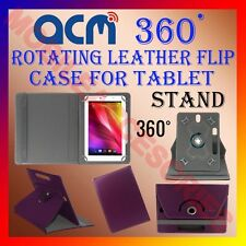 "ACM-ROTATING PURPLE FLIP STAND COVER 8"" CASE for KARBONN SMART TAB 8"" 360 ROTATE"