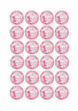 24 PRECUT HAPPY 1ST BIRTHDAY PRINCESS EDIBLE ROUND CUPCAKE FAIRY CAKE TOPPERS