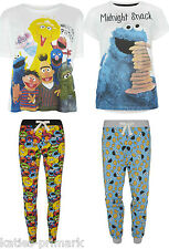 PRIMARK LADIES SESAME STREET COOKIE MONSTER PYJAMA SEPARATES / SET PYJAMAS PJ'S