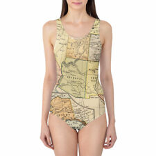 Vintage South West USA Map Women's Swimsuit XS-5XL One Piece with Removable Padd