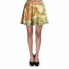 Art Deco Paris Skater Skirt XS-3XL Stretch Flared Short Skirt