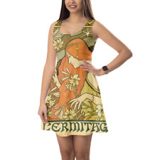 Art Deco Paris Sleeveless Dress Flared Short