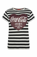 PRIMARK Coca Cola PJ T Shirt Heart & Stripes PYJAMAS Sizes 6 - 20 NEW