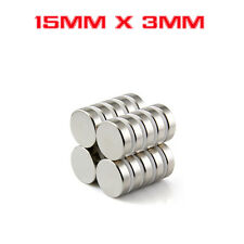 Strong Round Cylinder Magnet 15mm x 3mm Rare Earth Neodymium N730