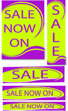 Lime & Purple Sale signs & posters  for shop windows and retail packs you choose