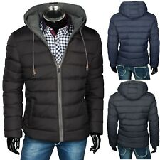 HERREN WINTER JACKE STEPPJACKE KAPUZE DAUNEN LOOK MANTEL WENDE JACKE 2 in 1