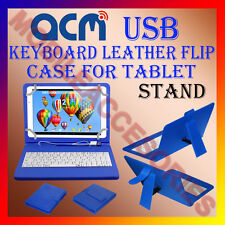 "ACM-USB KEYBOARD BLUE 7"" CASE for DOMO SLATE N8 SE TABLET LEATHER COVER STAND"