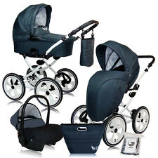 MAJESTIC BABY PRAM PUSHCHAIR CAR SEAT = TRAVEL SYSTEM 9 COLOURS WHITE CHASSIS