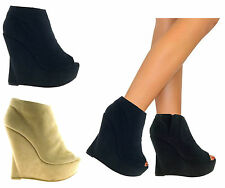 LADIES WOMENS PLATFORM HIGH WEDGE ZIP UP FAUX SUEDE PEEP TOE PUMPS BOOTS SHOES