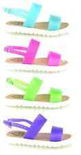 GIRLS BABY INFANTS KIDS NEW FLAT RETRO JELLY GUM STRAP SUMMER SANDALS SHOES SIZE