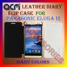 ACM-LEATHER DIARY FOLIO FLIP FLAP CASE for PANASONIC ELUGA I2 FRONT/BACK COVER