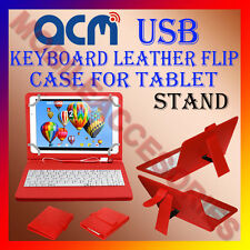 """ACM-USB KEYBOARD RED 7"""" CASE for ANY ALL 7"""" UNIVERSAL TAB LEATHER COVER STAND"""
