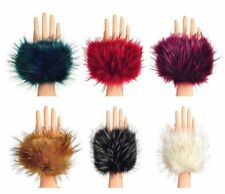 Pair of Luxury Faux Raccoon Fur Soft Cuffs Wrist Hands Leg Warmer Ski Winter
