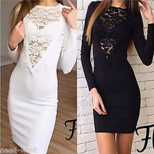 Womens Party Bodycon Dress Ladies Evening Lace Cocktail Sexy Dress Size 6 - 14