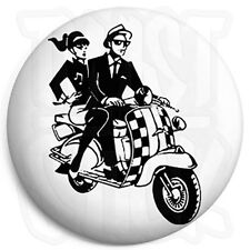 2-Tone Scooter Couple - 25mm Rude Boy, Ska Button Badge, Fridge Magnet Option