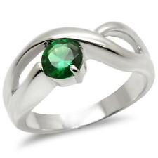 Silver Emerald Ring Geometric Band Green Cubic Zirconia Sterling 925 Size 8 9 10