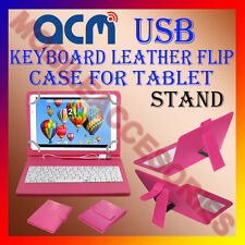 "ACM-USB KEYBOARD PINK 10"" CASE for IBALL EDU-SLIDE I1017 TAB LEATHER COVER STAND"