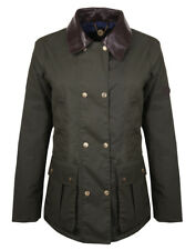Country Attire Women's Tisbury Leather Trim Wax Jacket - Olive
