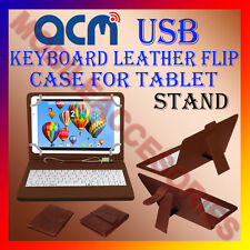"""ACM-USB KEYBOARD BROWN 10"""" CASE for SWIPE ULTIMATE TABLET LEATHER COVER STAND"""