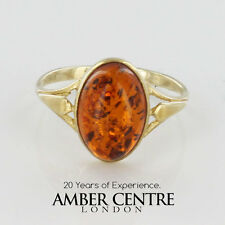 Italian Made Cognac Colour Baltic Amber Ring in 9ct Gold- GR0053 RRP £115!!!