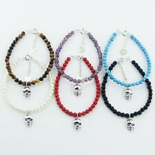 Round Gemstone Bead Bracelet with Silver Skull Charm Available in 6 Gemstones