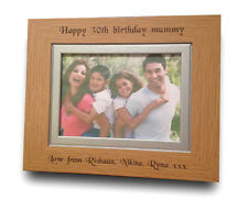 Engraved Personalised Oak Wood Photo Frame Birthday Gift - 30th 40th 50th 60th