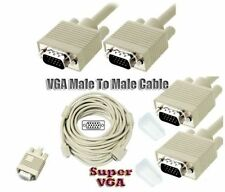 30m VGA high quality MALE to MALE cable SVGA with Ferrite ring biege/white 1080p