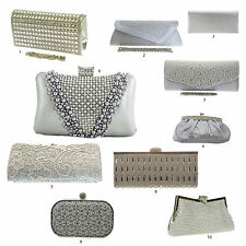 New Silver Metallic Grey Clutch Bags Diamante Wedding Hard Case Lace Pearls