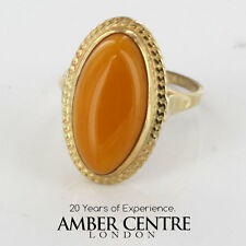 Antico Butterscotch Colore Ambra Baltica Anello in 9ct Oro-GR0114Y