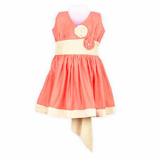 LaOcchi Orange Chanderi Cotton Partywear Frock with band