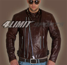 4LIMIT Sports Blouson moto >>cruiser<< retro en cuir brun biker rocker chopper