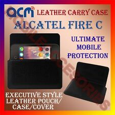 ACM-HORIZONTAL LEATHER CARRY CASE for ALCATEL FIRE C MOBILE POUCH COVER HOLDER