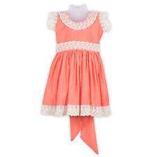LaOcchi Orange Chanderi Cotton Partywear Frock with Cream Lace