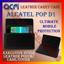 ACM-HORIZONTAL LEATHER CARRY CASE for ALCATEL POP D1 MOBILE POUCH COVER HOLDER