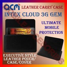 ACM-HORIZONTAL LEATHER CARRY CASE for INTEX CLOUD 3G GEM MOBILE POUCH COVER NEW