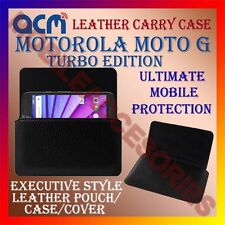 ACM-HORIZONTAL LEATHER CARRY CASE for MOTOROLA MOTO G TURBO EDITION POUCH COVER