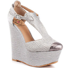 Nira II in Silver Fabric Penny Loves Kenny uk 6  6,5 wedges shoes platform