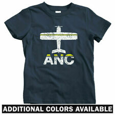 Fly Anchorage ANC Airport Kids T-shirt - Baby Toddler Youth Tee - Alaska Plane