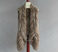 100% Real Knitted Rabbit Fur Vest Waistcoat Coat Fashion High Quality 6 Colors