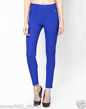 SevenFold Fashionable Cotton Lycra Solid Blue Jeggings