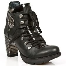 NEWROCK New rock TR010-S1 Ladies Black Leather Buckle Gothic Rock Punk Boots